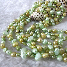 "56"" 5-6mm Light Green Champagne Green Baroque Freshwater Pearl Necklace M3 U"