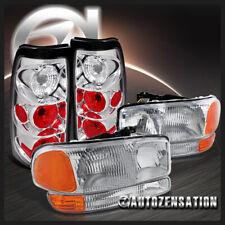 For 1999-2002 GMC Sierra Fleetside Clear Headlights+Bumper Lamp+Clear Tail Lamps