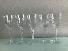 "5 Bohemian Cut Crystal White Wine Glasses clear heavy quality  7.75"" Czech"