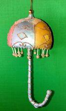 Glamour Designer Jim Marvin Glitter Pastel Umbrella Ball Christmas Ornament New