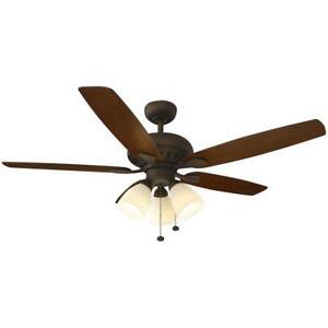 """hampton bay 51751 rockport 52"""" indoor oil rubbed bronze ceiling fan w/light kit"""
