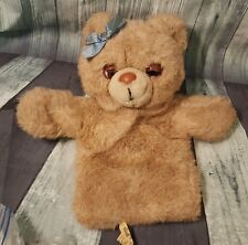 "Applause Vintage Plush Teddy Bear Puppet Bow 1988 11"" P1"