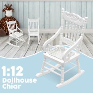 1:12 Scale Mini Wooden DIY Miniature Dollhouse Rocking Chair Furniture Models