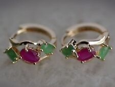 FINE 100% NATURAL TOP RED RUBY&GREEN EMERALD 9k solid GOLD   EARRING