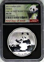 2017 China 10 Yn 30g Silver Panda NGC MS70 FDOI One of First 30,000 Struck