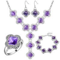 Jewelry Set Mystical Amethyst Gemstone Silver Necklace Bracelet Earrings Rings