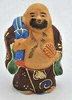 Vintage Kutani Buddha bearded ornate colorful Japanese figurine Hand painted