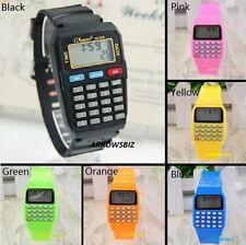 New Digital LED CALCULATOR Wrist Watch Unisex Men Women Kids School Boys Girls