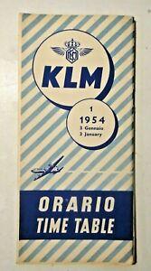 COMPAGNIA AEREA KLM - ORARIO TIME TABLE Anno 1954 - LINEE AEREE OLANDESI