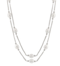 BELLA PEARL Sterling Silver Layered Pearl Necklace 0332