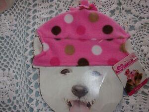 Lt  PINK Dot FLEECE Hat Dog Smoochie Pooch New pet L/XL cap