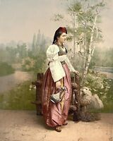 New 8x10 Photo - Girl in peasant outfit Sarajevo Bosnia Austria Hungary 1900