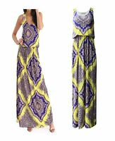 Women Printed Sleeveless Scoop Neck Full Length Toga Baloon Maxi Dress