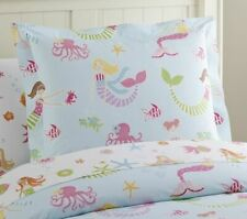 Pottery Barn Kids Mermaid Pillowcase Pillow Sham One Standard White Pink Sirene