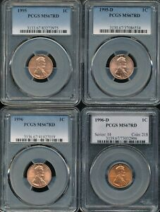 (4) Different Lincoln Cents PCGS MS 67 RD *Beautiful Red/Orange Color!*