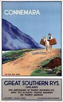"Vintage Illustrated Travel Poster CANVAS PRINT Ireland Connemara 24""X18"""