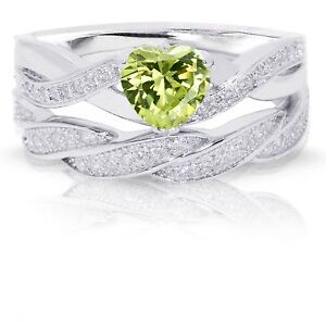 Infinity Celtic Peridot Heart Engagement Wedding Sterling Silver Ring Set