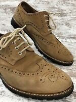 Mike Konos Mens Size 11.5 Tan Suede Wingtip Brogue Oxford Dress Shoes MI Italy