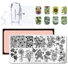 Nagel Stempel Schablone + Clear Jelly Stamper Kit Rose Sunflower Manicure Tools