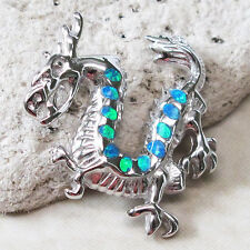 INCREDIBLE CHINESE DRAGON BLUE OPAL 925 STERLING SILVER PENDANT