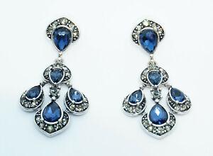 Signed OSCAR DE LA RENTA Silver Blue Crystal Chandelier Drop Stud Earrings