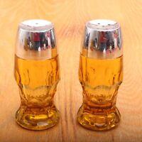 Vintage Honeycomb Amber Topaz Georgian Pressed Glass Salt & Pepper Shakers