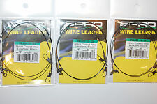 "3 packs spro premium nylon coated wire leader 18"" 20lb ball bearing swivel pike"