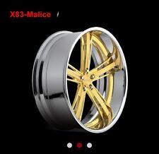 "24"" Gold Chrome Dub Malice 5 Lug Rims Wheels Range Rover Camaro Bmw Old School"