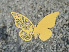100x farfalle Segnaposto Segnabicchiere ORO PERLATO bomboniera matrimonio LASER