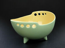More details for wade harmony green & yelllow asymetric tripod bowl two tone mcm 50s 60s england