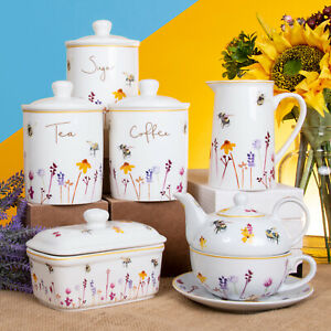 Busy Bees Teapot Afternoon Tea Party Tableware Set Coffee Mugs Storage Canisters