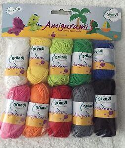 Gründl Amigurumi1 Wolle Baumwolle Set Häkeltiere Häkeln Kinder 10x10g 100%cotton
