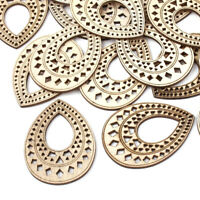 10 Natural Wood Large Pendants Drop Carved Hollow Dangle Charms Findings 67.5mm