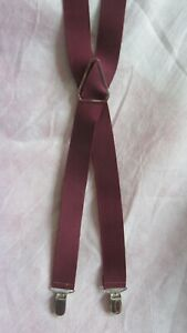 """Pelican Burgundy Red Wine Elastic ClipSuspenders Made in USA 1 1/4"""" Wide"""