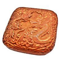 Vintage Chinese Hand Carved Orange Resin Box Artwork Old Asian Dragon Zodiac
