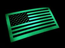 "Glow in the dark US MADE American US patriotic Flag Sticker Decal  4"" x 2.5"""
