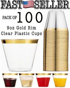 Pack Of 100 Gold Rim Clear Plastic Cups Disposable Old Fashioned Party Cups 9oz