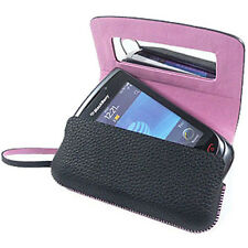 NEW BLACKBERRY 9800 Torch Pink w Black Leather Folio Tote Case w. Strip OEM