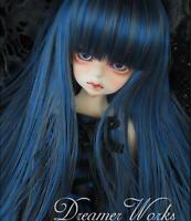 "1/3 8-9""Dal.Pullip.BJD.SD LUTS BLYTH Doll long blue mix straight doll /wig hair"