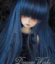 "1/3 8-9""Dal.Pullip.BJD.SD LUTS BLYTH Doll long blue mix straight doll /Parrucca"