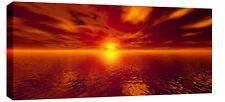 """LARGE GOLDEN SEASCAPE SUNSET CANVAS ART PICTURE 44""""x20"""""""