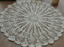 """20"""" Hand Crochet Round Cream Doily Table Cloth Topper Pineapple French Country"""