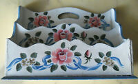 Vintage Country Hand-Painted Wood LETTER HOLDER Pink Roses Blue Ribbons on White