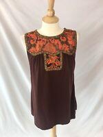 Anna Sui Women's Brown & Orange Knit Tank Top Floral Trim Metallic Accent Size L