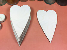 WOODEN primitiva CUORI FORME 15cm (x10) LASER CUT legno artigianato Bianco Forma