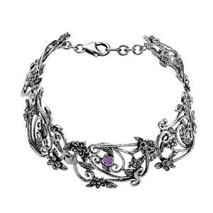 OR PAZ 925 Sterling Silver Amethyst Floral Link Bracelet, Size M, Made in Israel
