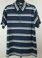 THE NORTH FACE Mens Striped Blue White Short Sleeve Polo Shirt Large L Slim Fit
