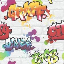 Rasch Graffiti Painted White Brick Pattern Urban Childrens Wallpaper 272901