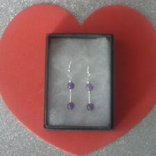 Beautiful Silver Earrings With Amethyst Gem 2.2 Gr.3Cm. Long + Hooks In Gift Box