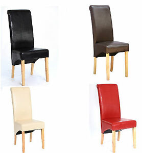 Top Quality Faux Leather Dining Chair Roll Top ScrollBack Oak Leg Seat Furniture